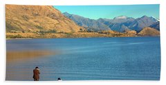 Beach Towel featuring the photograph Shooting Ducks On Lake Wanaka by Stuart Litoff