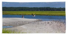 Shorebirds And Marsh Grass Beach Towel