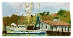 Shrimp Boat At Dock Beach Towel