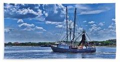 Shrimp Boat Heading To Sea Beach Towel