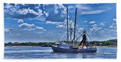 Shrimp Boat Heading To Sea Beach Towel