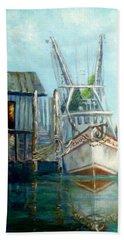 Shrimp Boat Paintings Beach Sheet