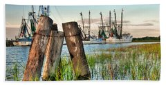 Shrimp Dock Pilings Beach Towel
