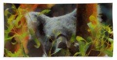 Shy Koala Beach Towel by Dan Sproul