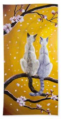 Siamese Cats Nestled In Golden Sakura Beach Towel