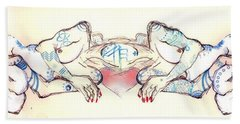 Beach Sheet featuring the painting Siamese Twins by Carolyn Weltman