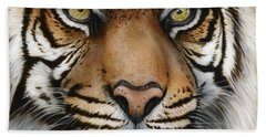 Siberian Tiger Closeup Beach Towel