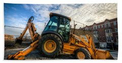 Side View Of A Backhoe At Sunset Beach Towel