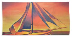 Beach Towel featuring the painting Sienna Sails At Sunset by Tracey Harrington-Simpson