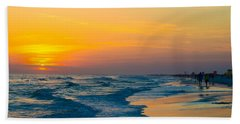 Siesta Key Sunset Walk Beach Sheet by Susan Molnar