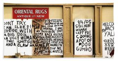 Beach Sheet featuring the photograph Sign Of Distress Post Hurricane Katrina Message by Michael Hoard