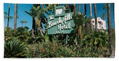 Signboard Of A Hotel, Beverly Hills Beach Towel by Panoramic Images