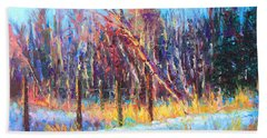 Signs Of Spring - Trees And Snow Kissed By Spring Light Beach Towel