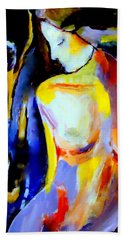 Beach Towel featuring the painting Silent Glow by Helena Wierzbicki