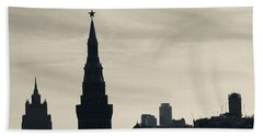 Silhouette Of Kremlin Towers, Moscow Beach Towel by Panoramic Images