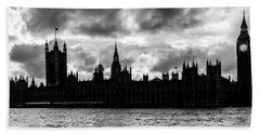 Silhouette Of  Palace Of Westminster And The Big Ben Beach Towel by Semmick Photo