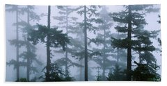Silhouette Of Trees With Fog Beach Towel