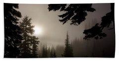 Silhouettes Of Trees On Mt Rainier Beach Towel