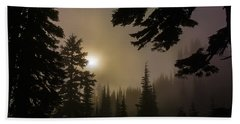 Silhouettes Of Trees On Mt Rainier II Beach Towel