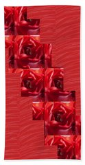 Beach Towel featuring the photograph Silken Red Sparkles Redrose Across by Navin Joshi