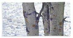 Silver Birch Trees At A Sunny Lake Beach Towel by Heiko Koehrer-Wagner