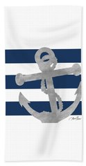 Silver Coastal On Blue Stripe I Beach Towel
