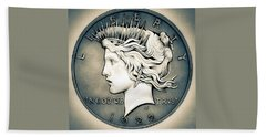 1922 Silver Proof Peace Dollar Beach Towel
