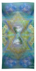 Silver Torquoise Chalicell Ring Flower Of Life Matrix II Beach Towel