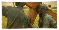 Simon Helps Jesus Carry His Cross Beach Sheet