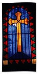 Simple Stain Glass Cross Pere Lachaise Paris Beach Towel