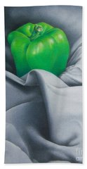 Beach Towel featuring the painting Simply Green by Pamela Clements