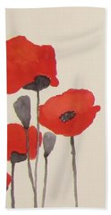 Simply Poppies 1 Beach Sheet by Elvira Ingram