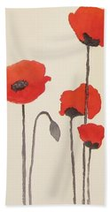 Simply Poppies 2. Beach Sheet by Elvira Ingram