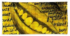 Simply Smile And Your Golden Virtues Will Be Written All Over You Beach Towel