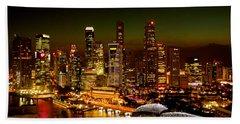 Singapore Skyline Beach Towel