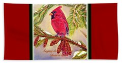 Singing The Good News With A Christmas Message Beach Towel by Kimberlee Baxter