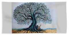 Singing Under The Blues Tree Beach Towel
