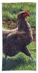 Single Chicken Walking Around On Grass Beach Sheet by Martin Davey