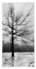 Single Leafless Tree In Winter Forest Beach Sheet