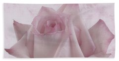 Single Pink Rose Blossom Beach Towel by Sandra Foster