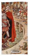 Sir Galahad Is Brought To The Court Of King Arthur Beach Towel by Walter Crane
