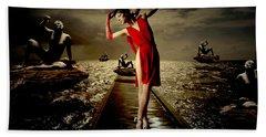 Beach Towel featuring the digital art Siren by Galen Valle