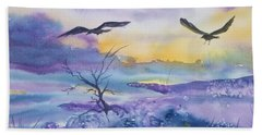 Beach Towel featuring the painting Sister Ravens by Ellen Levinson
