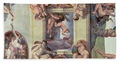Sistine Chapel Ceiling 1508-12 The Creation Of Eve, 1510 Fresco Post Restoration Beach Towel
