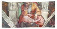 Sistine Chapel Ceiling The Prophet Jeremiah Pre Resoration Beach Towel