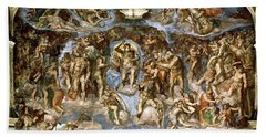 Sistine Chapel The Last Judgement, 1538-41 Fresco Pre-restoration Beach Towel
