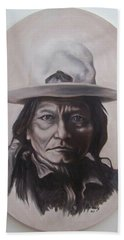 Beach Sheet featuring the painting Sitting Bull by Michael  TMAD Finney