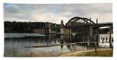 Siuslaw River Bridge Beach Sheet by Belinda Greb