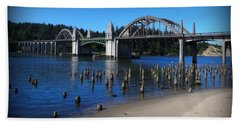 Beach Towel featuring the photograph Siuslaw River Bridge Oregon by Nick Kloepping