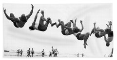 Six Men Doing Beach Flips Beach Towel